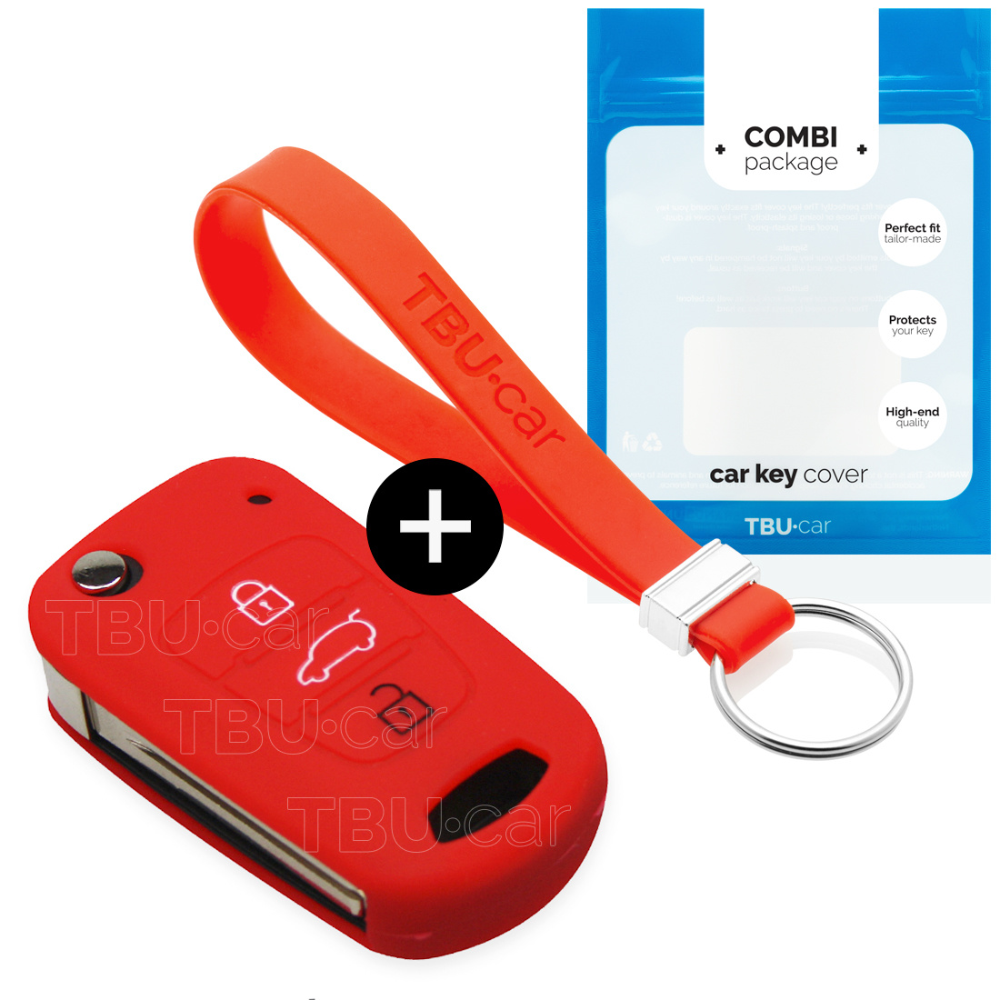 Hyundai Car key cover - Silicone Protective Remote Key Shell - FOB Case Cover - Red