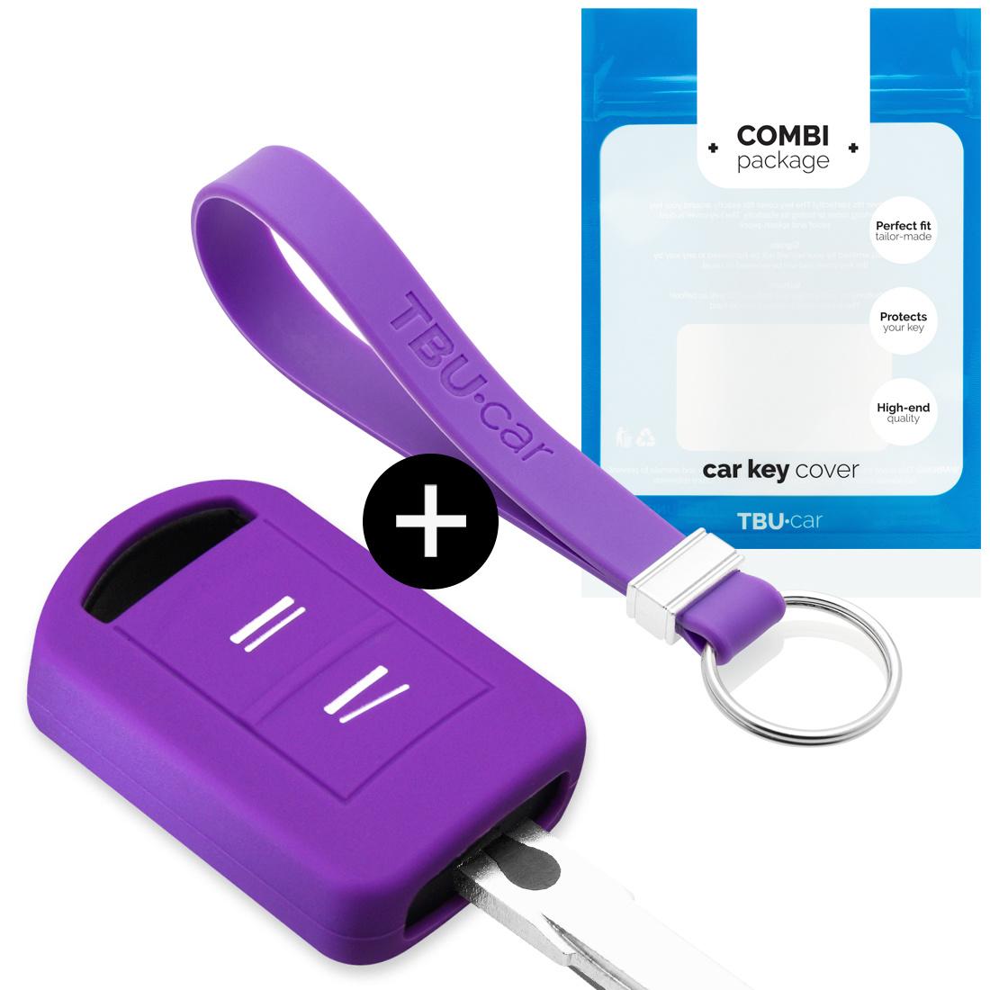 TBU car TBU car Autoschlüssel Hülle kompatibel mit Vauxhall 2 Tasten - Schutzhülle aus Silikon - Auto Schlüsselhülle Cover in Violett