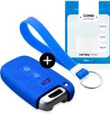 TBU car Autoschlüssel Hülle für Hyundai 3 Tasten (Keyless Entry) - Schutzhülle aus Silikon - Auto Schlüsselhülle Cover in Blau