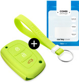Hyundai Car key cover - Silicone Protective Remote Key Shell - FOB Case Cover - Lime