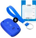 TBU car TBU car Autoschlüssel Hülle kompatibel mit Hyundai 3 Tasten (Keyless Entry) - Schutzhülle aus Silikon - Auto Schlüsselhülle Cover in Blau