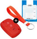 TBU car TBU car Sleutel cover compatibel met Hyundai - Silicone sleutelhoesje - beschermhoesje autosleutel - Rood