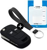 TBU car TBU car Autoschlüssel Hülle kompatibel mit Vauxhall 2 Tasten - Schutzhülle aus Silikon - Auto Schlüsselhülle Cover in Schwarz