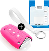 Hyundai Car key cover - Silicone Protective Remote Key Shell - FOB Case Cover - Fluor Pink