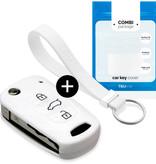 TBU car TBU car Sleutel cover compatibel met Kia - Silicone sleutelhoesje - beschermhoesje autosleutel - Wit