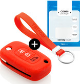 TBU car TBU car Autoschlüssel Hülle kompatibel mit Smart 3 Tasten - Schutzhülle aus Silikon - Auto Schlüsselhülle Cover in Rott