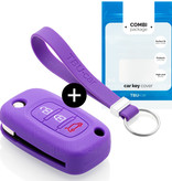 TBU car Autoschlüssel Hülle für Smart 3 Tasten - Schutzhülle aus Silikon - Auto Schlüsselhülle Cover in Violett