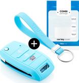 Kia Autoschlüssel Hülle - Silikon Schutzhülle - Schlüsselhülle Cover - Hellblau