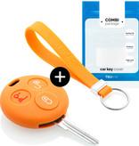 TBU car TBU car Autoschlüssel Hülle kompatibel mit Smart 3 Tasten - Schutzhülle aus Silikon - Auto Schlüsselhülle Cover in Orange