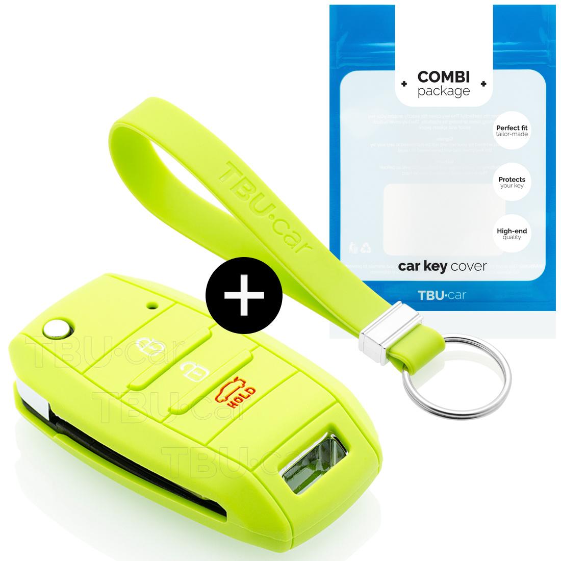 TBU car TBU car Sleutel cover compatibel met Kia - Silicone sleutelhoesje - beschermhoesje autosleutel - Lime groen