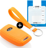 TBU car Autoschlüssel Hülle für Kia 3 Tasten - Schutzhülle aus Silikon - Auto Schlüsselhülle Cover in Orange