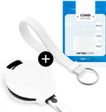Smart Car key cover - Silicone Protective Remote Key Shell - FOB Case Cover - White