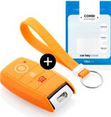 TBU car Autoschlüssel Hülle für Kia 3 Tasten (Keyless Entry) - Schutzhülle aus Silikon - Auto Schlüsselhülle Cover in Orange