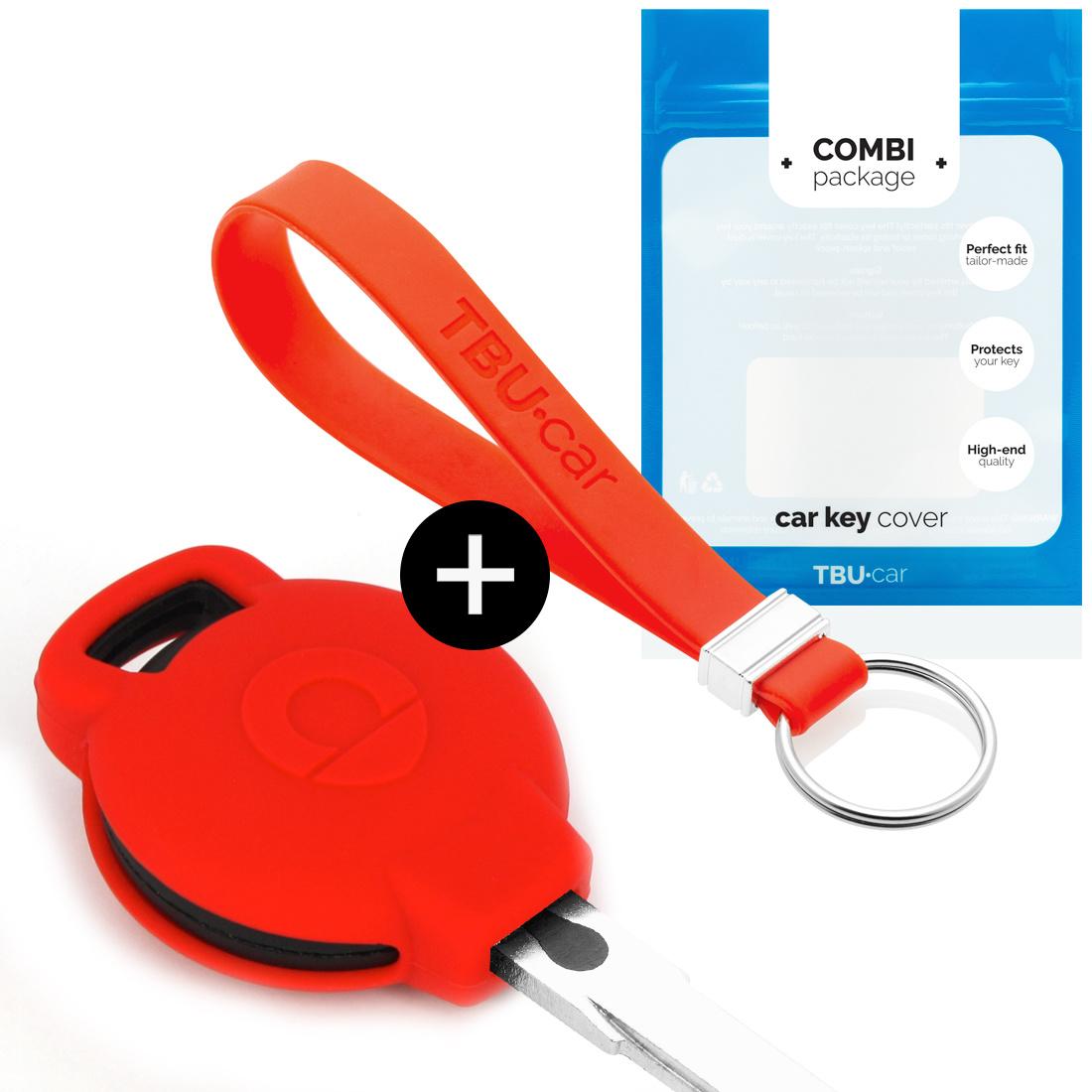 TBU car TBU car Autoschlüssel Hülle kompatibel mit Smart 3 Tasten - Schutzhülle aus Silikon - Auto Schlüsselhülle Cover in Rot