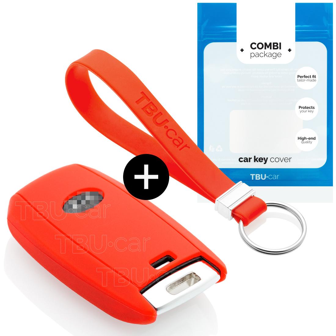 TBU car TBU car Autoschlüssel Hülle kompatibel mit Kia 3 Tasten (Keyless Entry) - Schutzhülle aus Silikon - Auto Schlüsselhülle Cover in Rot