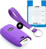 TBU car TBU car Autoschlüssel Hülle kompatibel mit Kia 3 Tasten (Keyless Entry) - Schutzhülle aus Silikon - Auto Schlüsselhülle Cover in Violett