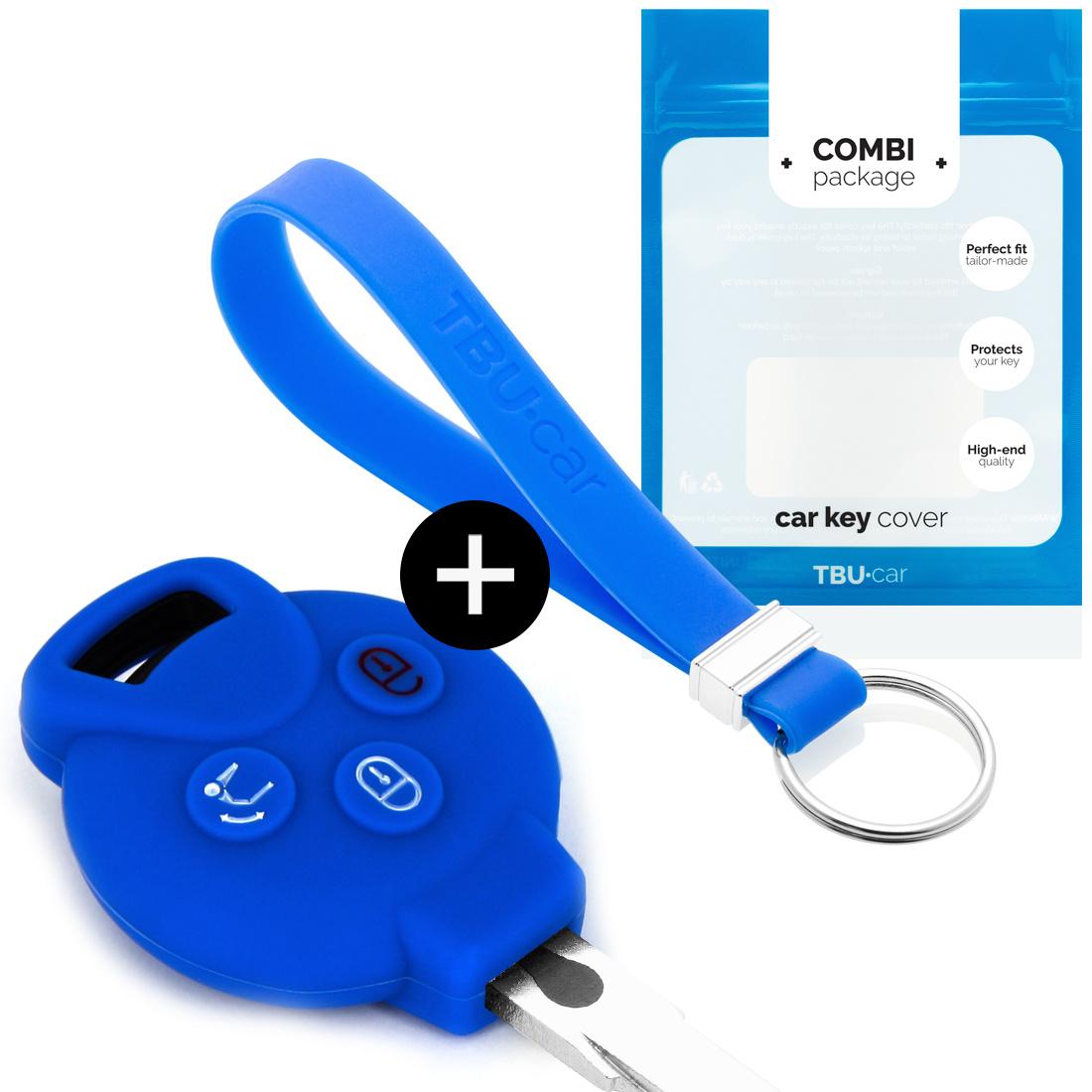 TBU car Autoschlüssel Hülle für Smart 3 Tasten - Schutzhülle aus Silikon - Auto Schlüsselhülle Cover in Blau