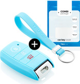 TBU car TBU car Autoschlüssel Hülle kompatibel mit Kia 3 Tasten (Keyless Entry) - Schutzhülle aus Silikon - Auto Schlüsselhülle Cover in Hellblau