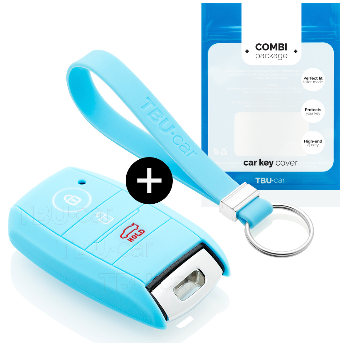 Kia Car key cover - Silicone Protective Remote Key Shell - FOB Case Cover - Light Blue