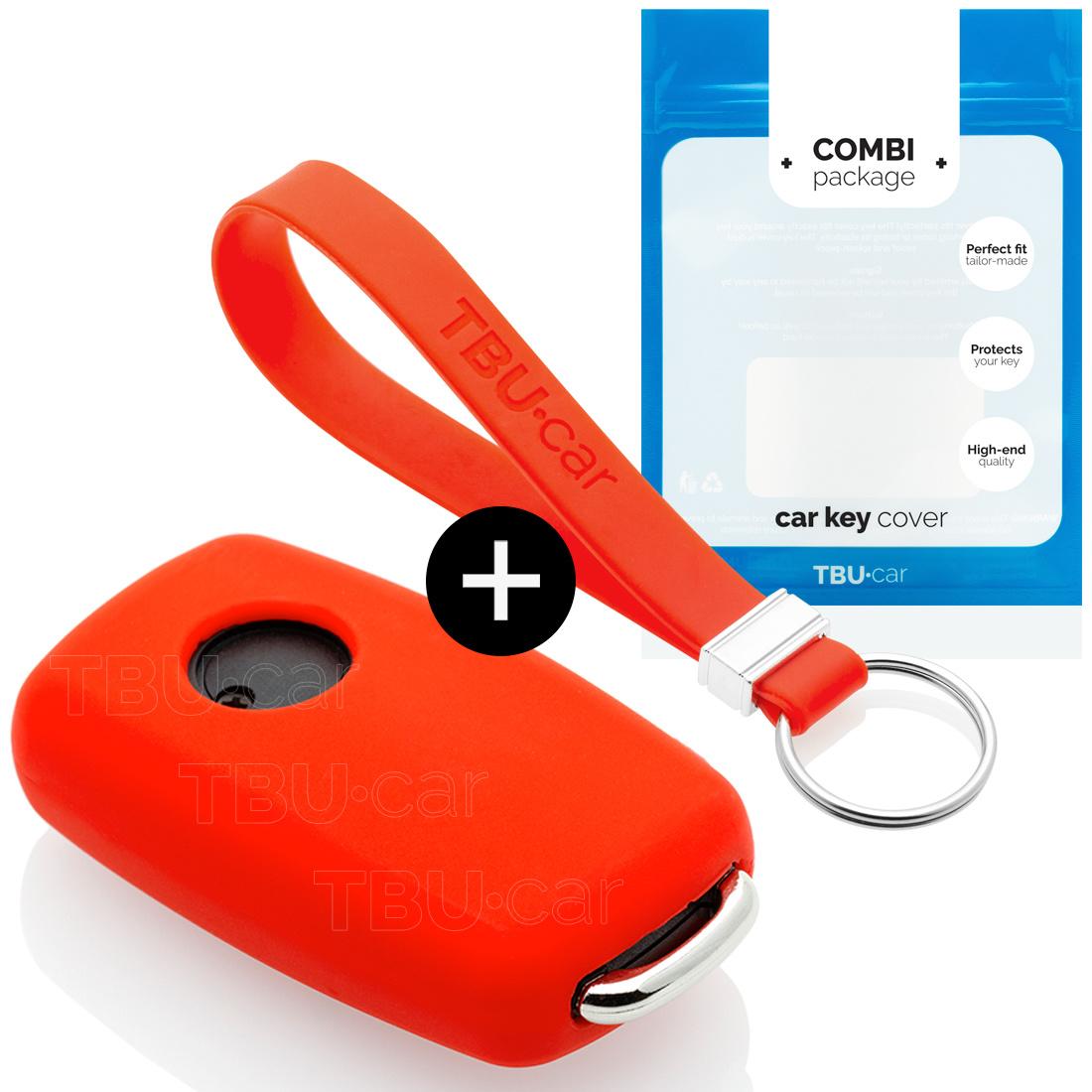 TBU car TBU car Autoschlüssel Hülle kompatibel mit Skoda 2 Tasten - Schutzhülle aus Silikon - Auto Schlüsselhülle Cover in Rot