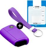 Skoda Autoschlüssel Hülle - Silikon Schutzhülle - Schlüsselhülle Cover - Violett