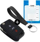 TBU car Autoschlüssel Hülle für Skoda 3 Tasten - Schutzhülle aus Silikon - Auto Schlüsselhülle Cover in Schwarz