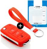 TBU car TBU car Autoschlüssel Hülle kompatibel mit Skoda 3 Tasten - Schutzhülle aus Silikon - Auto Schlüsselhülle Cover in Rot