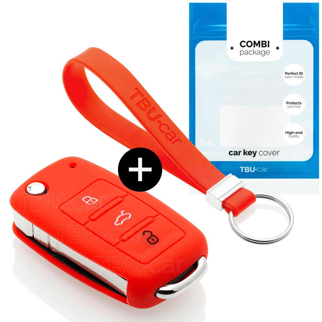 TBU car TBU car Sleutel cover compatibel met Skoda - Silicone sleutelhoesje - beschermhoesje autosleutel - Rood