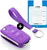 TBU car Autoschlüssel Hülle für Skoda 3 Tasten - Schutzhülle aus Silikon - Auto Schlüsselhülle Cover in Violett