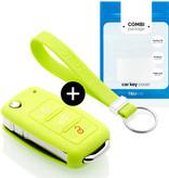 TBU car TBU car Autoschlüssel Hülle kompatibel mit Skoda 3 Tasten - Schutzhülle aus Silikon - Auto Schlüsselhülle Cover in Lindgrün