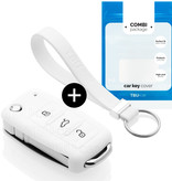 Skoda Car key cover - Silicone Protective Remote Key Shell - FOB Case Cover - White