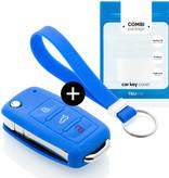 TBU car Autoschlüssel Hülle für Skoda 3 Tasten - Schutzhülle aus Silikon - Auto Schlüsselhülle Cover in Blau