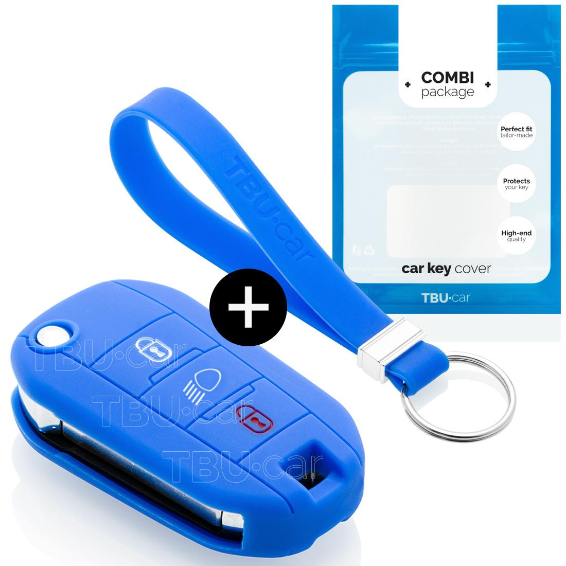 TBU car Autoschlüssel Hülle für Peugeot 3 Tasten (Licht Taste) - Schutzhülle aus Silikon - Auto Schlüsselhülle Cover in Blau
