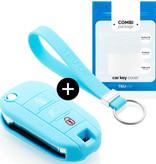 TBU car TBU car Autoschlüssel Hülle kompatibel mit Peugeot 3 Tasten (Licht Taste) - Schutzhülle aus Silikon - Auto Schlüsselhülle Cover in Hellblau
