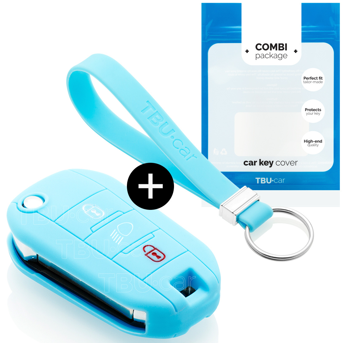 Peugeot Autoschlüssel Hülle - Silikon Schutzhülle - Schlüsselhülle Cover - Hellblau