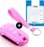 TBU car TBU car Sleutel cover compatibel met Peugeot - Silicone sleutelhoesje - beschermhoesje autosleutel - Roze