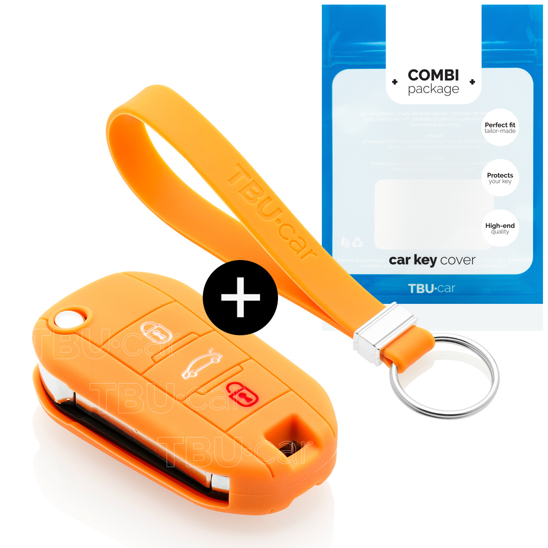 Peugeot Car key cover - Silicone Protective Remote Key Shell - FOB Case Cover - Orange