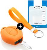 TBU car TBU car Autoschlüssel Hülle kompatibel mit Peugeot 1 Taste - Schutzhülle aus Silikon - Auto Schlüsselhülle Cover in Orange