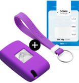 Peugeot Car key cover - Silicone Protective Remote Key Shell - FOB Case Cover - Purple