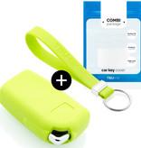 TBU car TBU car Sleutel cover compatibel met Peugeot - Silicone sleutelhoesje - beschermhoesje autosleutel - Lime groen