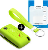 Peugeot Car key cover - Silicone Protective Remote Key Shell - FOB Case Cover - Lime