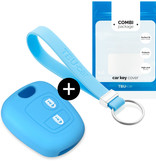 Peugeot Car key cover - Silicone Protective Remote Key Shell - FOB Case Cover - Light Blue