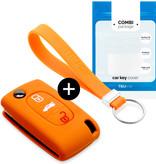 TBU car Autoschlüssel Hülle für Peugeot 3 Tasten - Schutzhülle aus Silikon - Auto Schlüsselhülle Cover in Orange