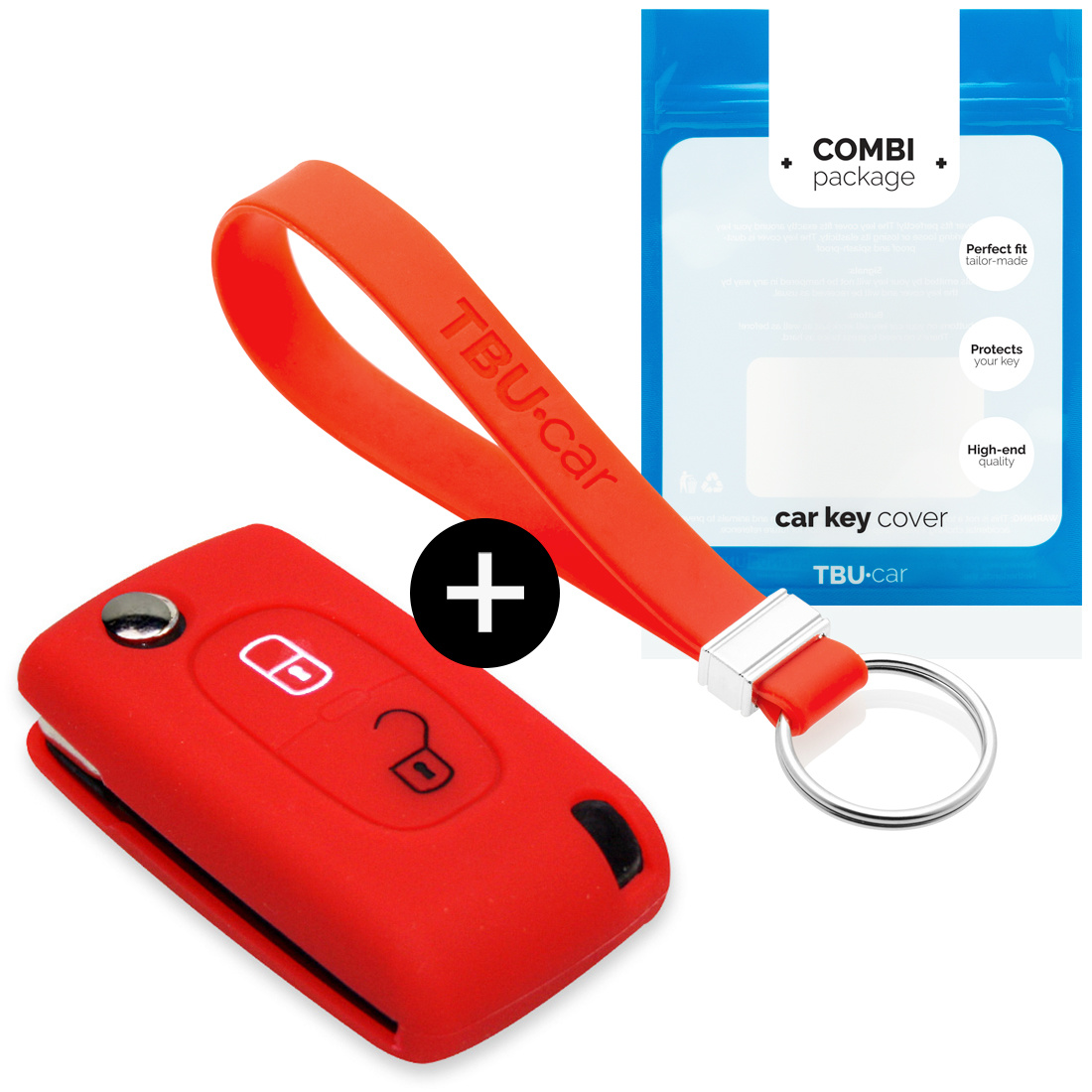 Peugeot Car key cover - Silicone Protective Remote Key Shell - FOB Case Cover - Red