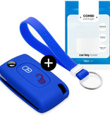 Peugeot Car key cover - Silicone Protective Remote Key Shell - FOB Case Cover - Blue