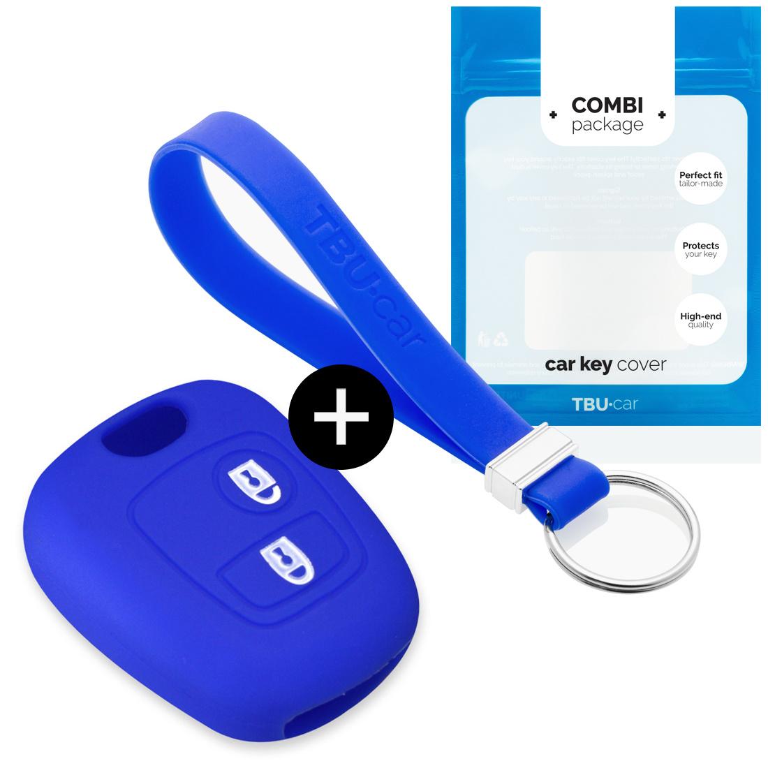 TBU car Autoschlüssel Hülle für Peugeot 2 Tasten - Schutzhülle aus Silikon - Auto Schlüsselhülle Cover in Blau