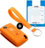 TBU car TBU car Autoschlüssel Hülle kompatibel mit Peugeot 2 Tasten - Schutzhülle aus Silikon - Auto Schlüsselhülle Cover in Orange