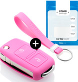 TBU car Autoschlüssel Hülle für Seat 2 Tasten - Schutzhülle aus Silikon - Auto Schlüsselhülle Cover in Rosa