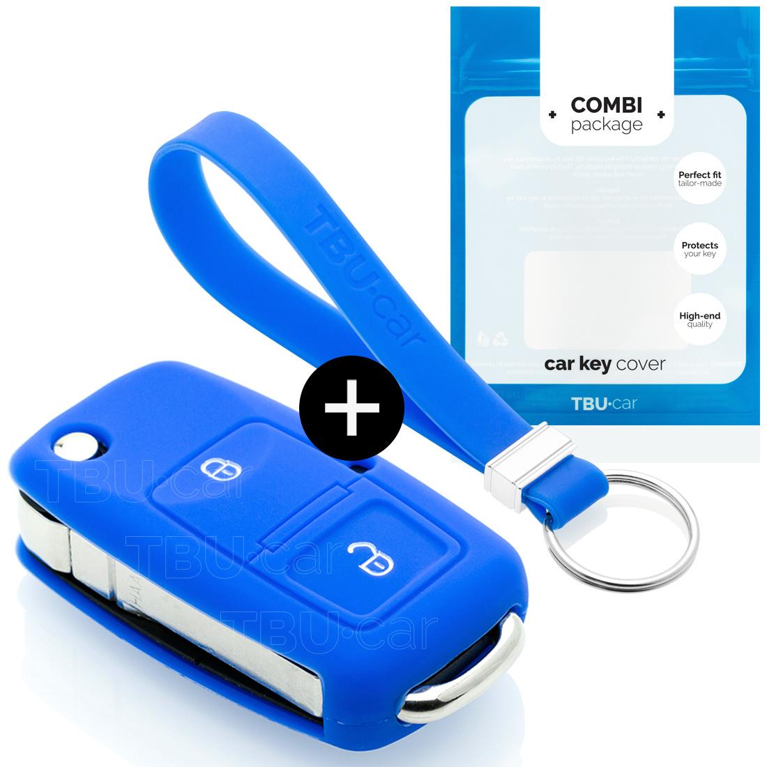 TBU car TBU car Autoschlüssel Hülle kompatibel mit Seat 2 Tasten - Schutzhülle aus Silikon - Auto Schlüsselhülle Cover in Blau