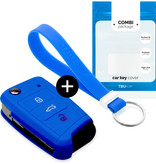 Seat Car key cover - Silicone Protective Remote Key Shell - FOB Case Cover - Blue